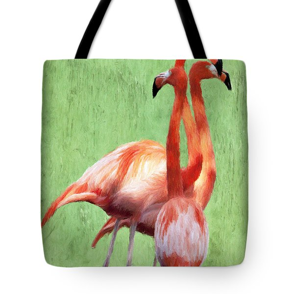 Tote Bag featuring the painting Flamingo Twist by Jeffrey Kolker