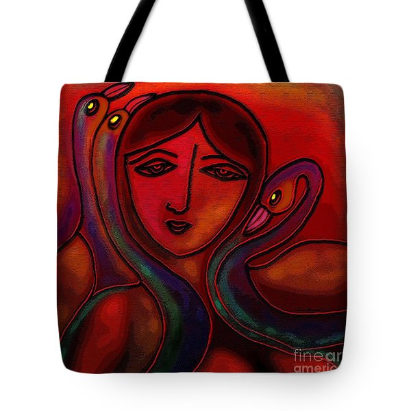 Tote Bag featuring the digital art Flamingoes- Mural Style by Latha Gokuldas Panicker