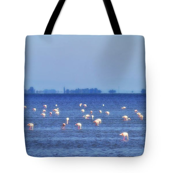 Flamingos In The Pond Tote Bag