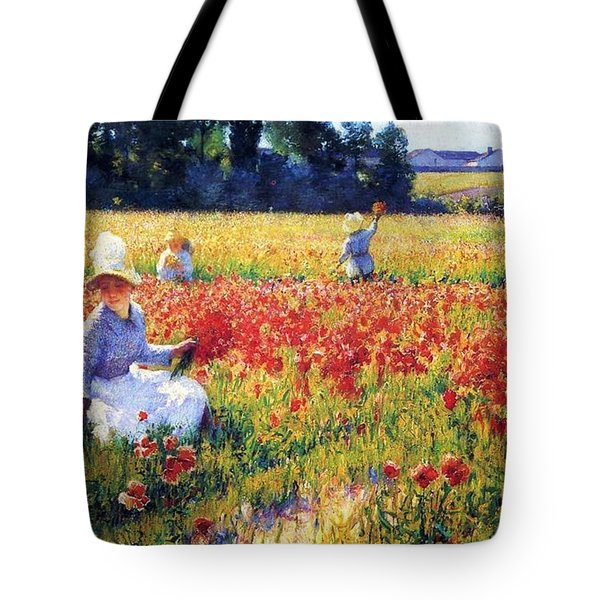 Flanders Fields Where Soldiers Sleep And Poppies Grow Tote Bag by Pg Reproductions