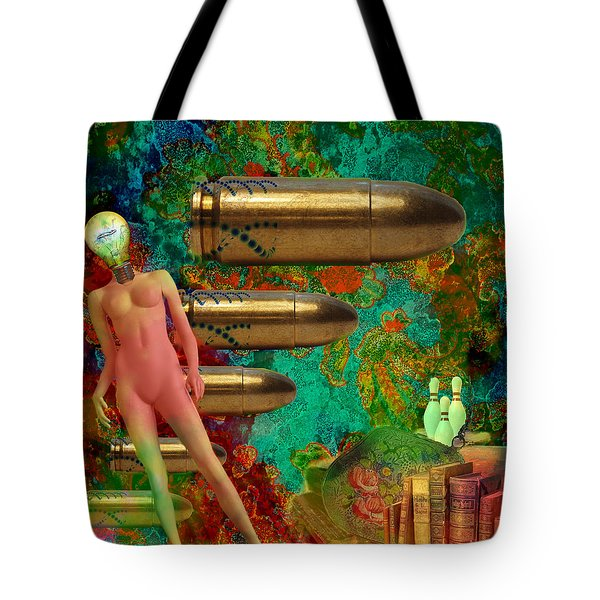 Tote Bag featuring the mixed media Flashbacks by Ally  White
