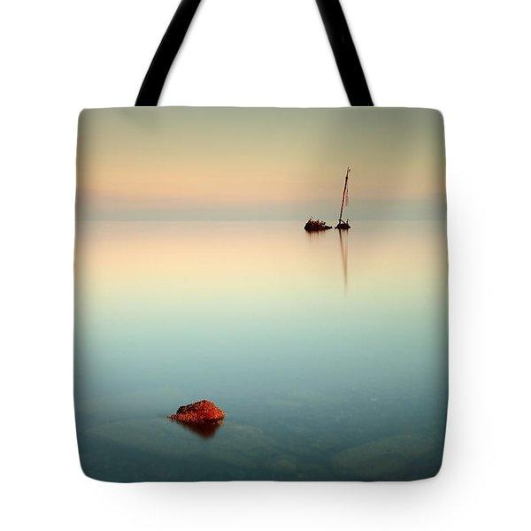 Flat Calm Shipwreck Sunrise Tote Bag