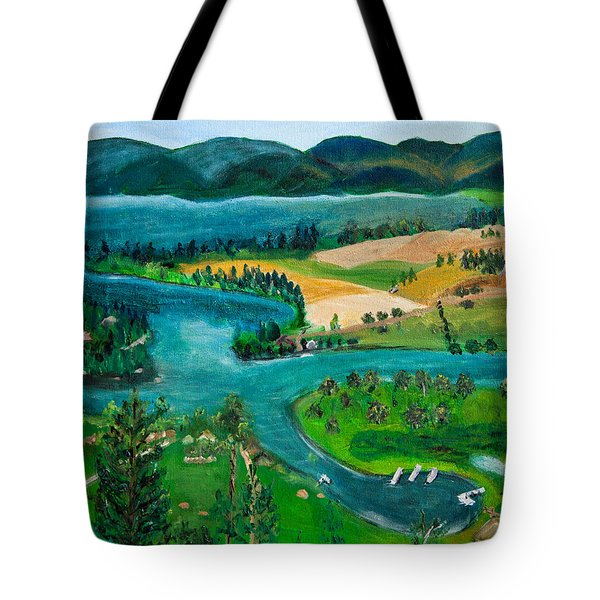 View Of Flathead River And Lake Tote Bag