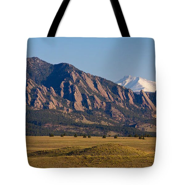 Flatirons And Snow Covered Longs Peak Panorama Tote Bag