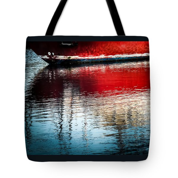 Red Boat Serenity Tote Bag by Karen Wiles