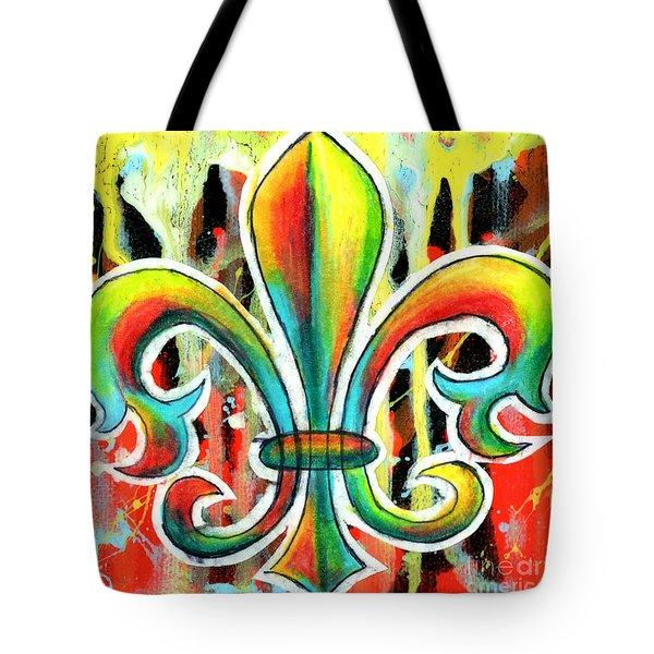 Fleur De Lis In Flames Tote Bag by Genevieve Esson