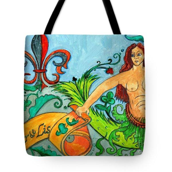 Fleur De Lis Mermaid Tote Bag by Genevieve Esson
