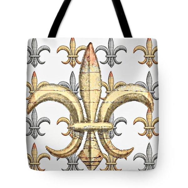 Fleur De Lys Silver And Gold Tote Bag