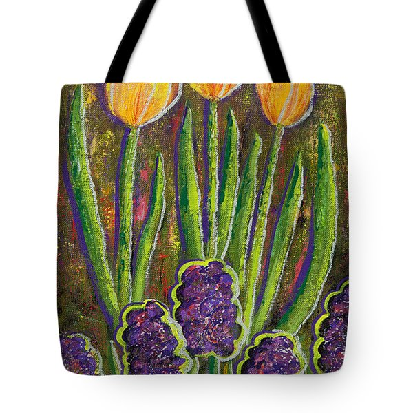 Fleurs D' Tulips And Hyacinths Tote Bag by Margaret Bobb
