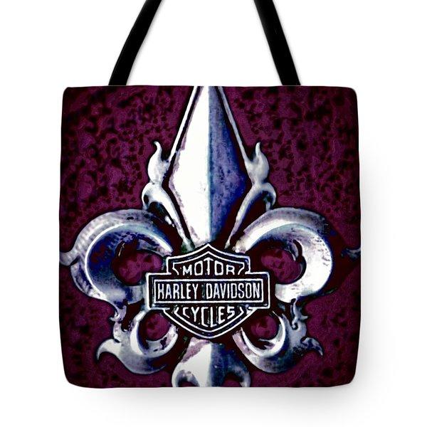 Fleurs De Lys With Harley Davidson Logo Tote Bag