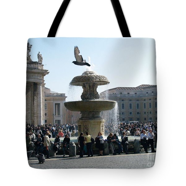 Tote Bag featuring the photograph Flight And Fountain by Robin Maria Pedrero