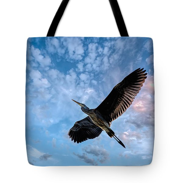 Tote Bag featuring the photograph Flight Of The Heron by Bob Orsillo