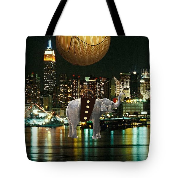 Flight Over The New York Skyline On A Hot Air Balloon Tote Bag