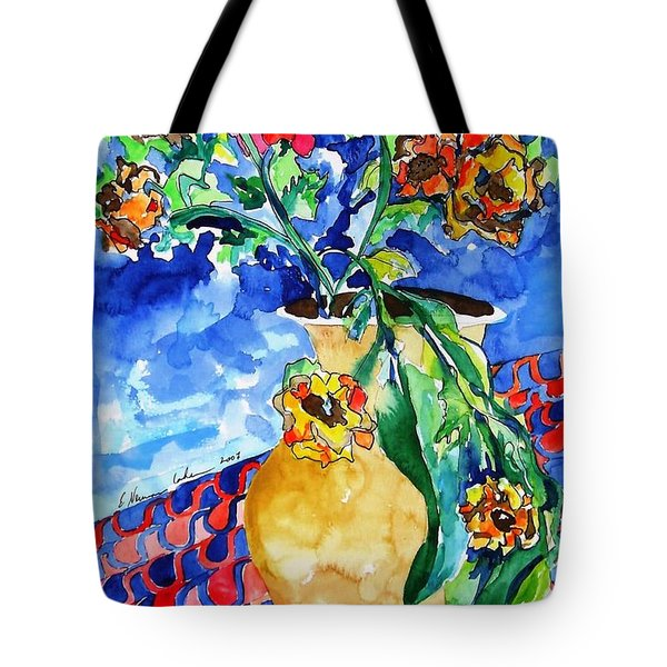 Flip Of Flowers Tote Bag by Esther Newman-Cohen