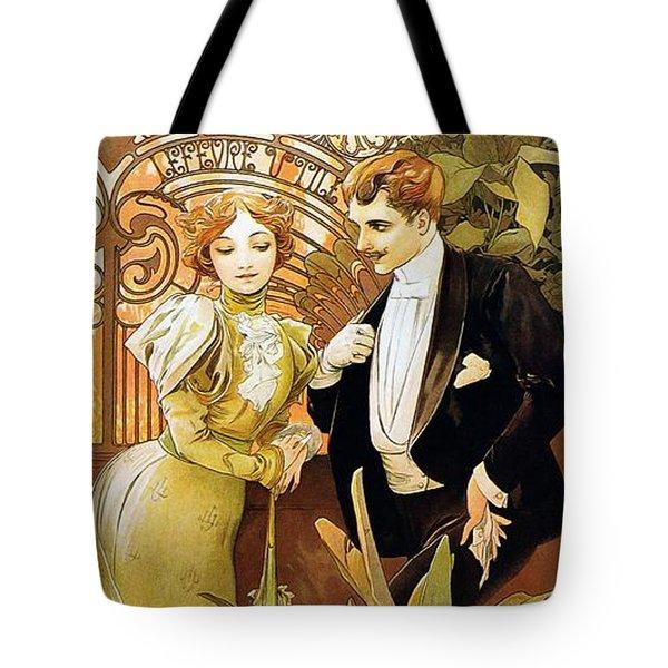 Flirt Tote Bag by Alphonse Mucha