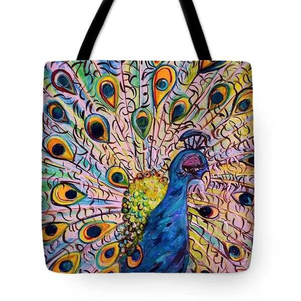 Flirty Peacock Tote Bag by Eloise Schneider