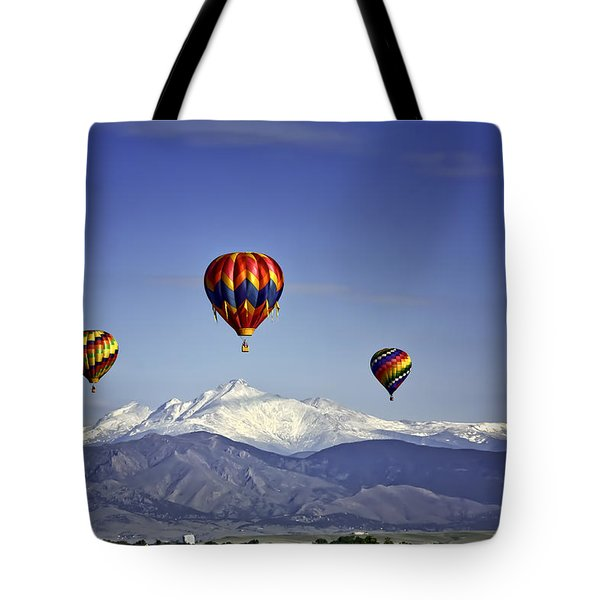 Floating Above Longs Peak Tote Bag