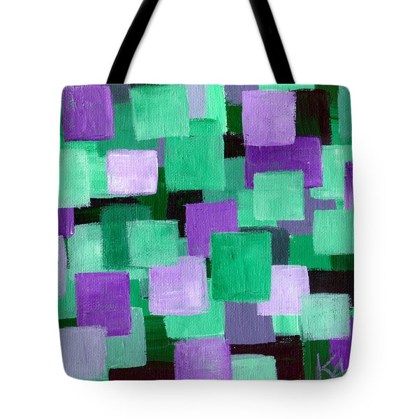 Floating Green And Purple Squares Tote Bag by Art by Kar