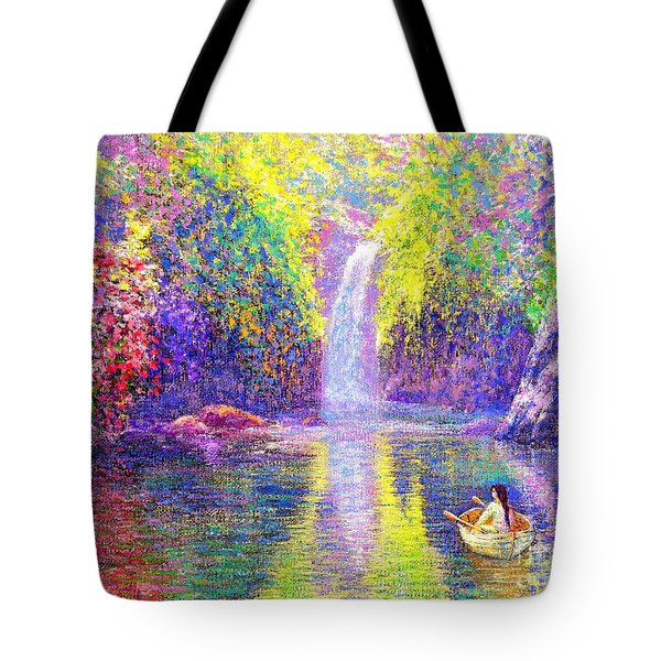 Tote Bag featuring the painting Floating by Jane Small