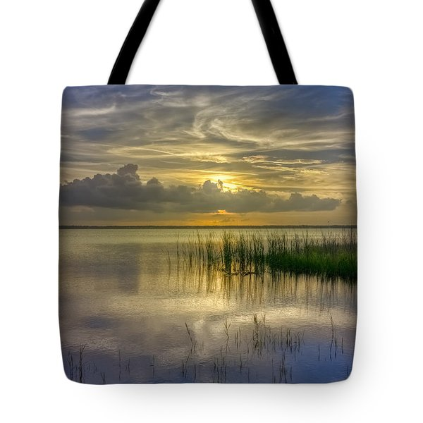 Floating Over The Lake Tote Bag by Debra and Dave Vanderlaan