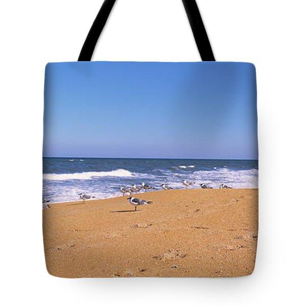 Flock Of Birds On The Beach, Flagler Tote Bag