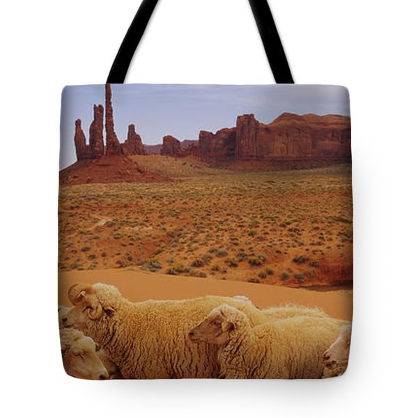 Flock Of Sheep In An Arid Landscape Tote Bag