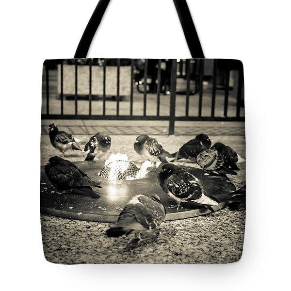 Flockin' Around The Fire Tote Bag by Melinda Ledsome