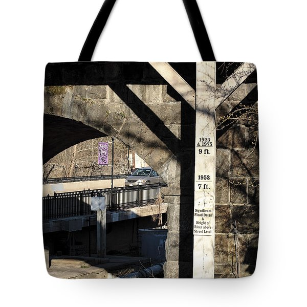 Flood Height Sign At Ellicott City Maryland Tote Bag
