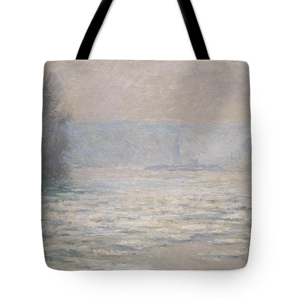Floods On The Seine Near Bennecourt Tote Bag by Claude Monet