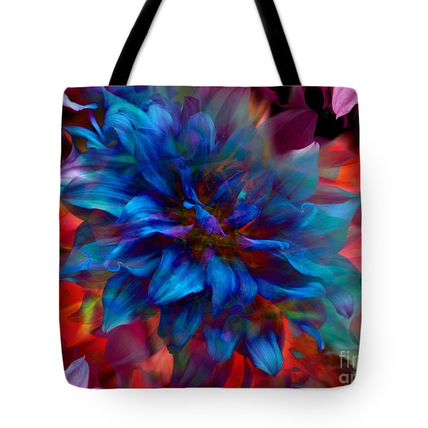 Floral Abstract Color Explosion Tote Bag by Stuart Turnbull