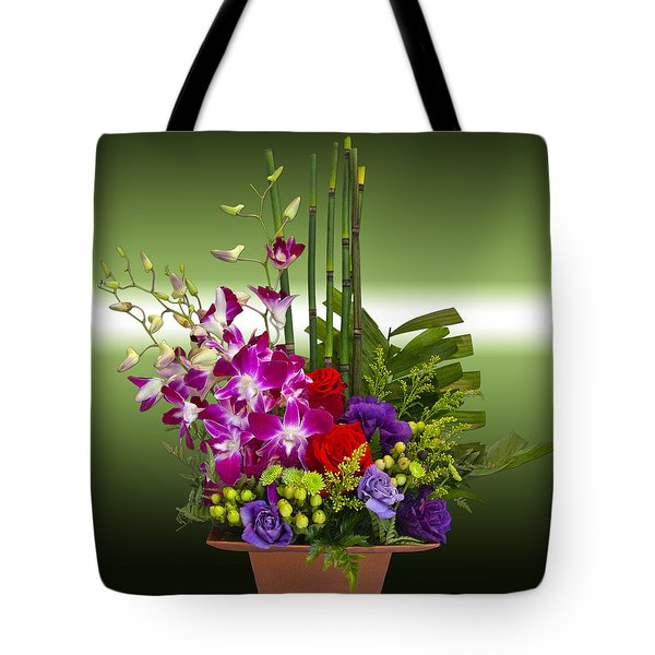 Floral Arrangement - Green Tote Bag by Chuck Staley