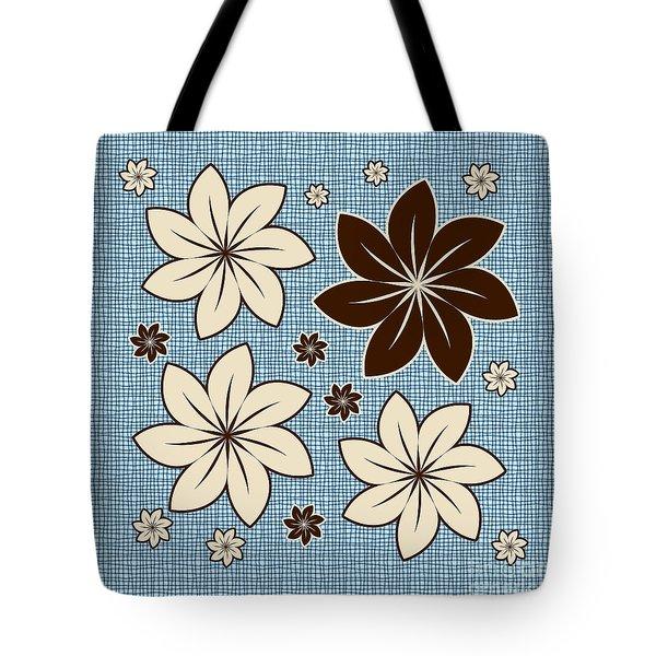 Floral Design On Blue Tote Bag by Gaspar Avila