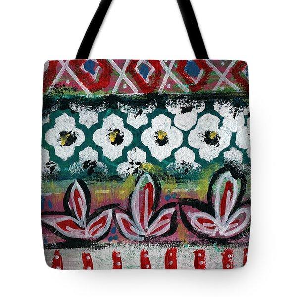 Floral Fiesta- Colorful Pattern Painting Tote Bag by Linda Woods