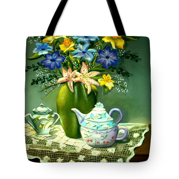 Floral With Lace Tablecloth Tote Bag