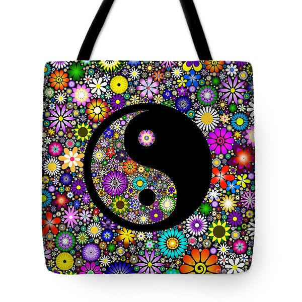 Floral Yin Yang Tote Bag