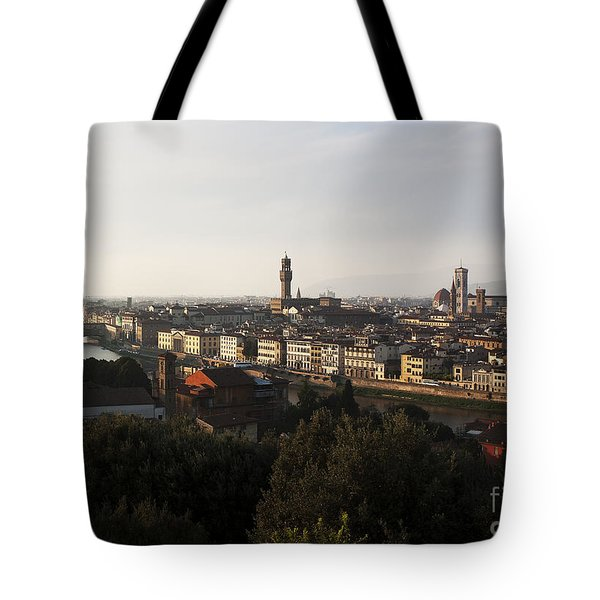 Tote Bag featuring the photograph Florence Form The Piazza Michalengelo by Belinda Greb
