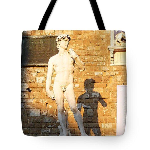 Florence Italy Michelangelo David Replica Tote Bag by Irina Sztukowski