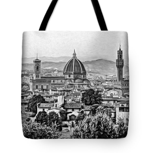 Florence Panorama - Paint Bw Tote Bag
