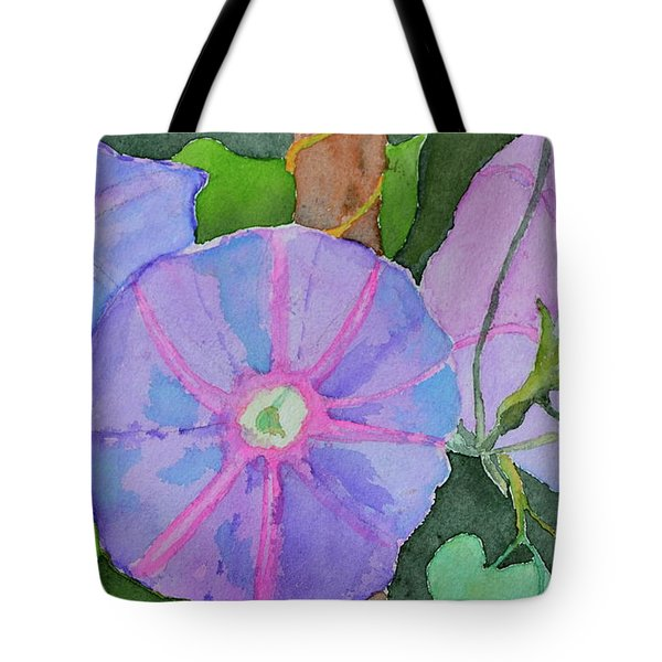 Tote Bag featuring the painting Florence's Morning Glories by Beverley Harper Tinsley