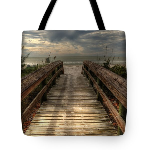 Tote Bag featuring the pyrography Florida Beach Entrance With A Beautiful Sky by Julis Simo