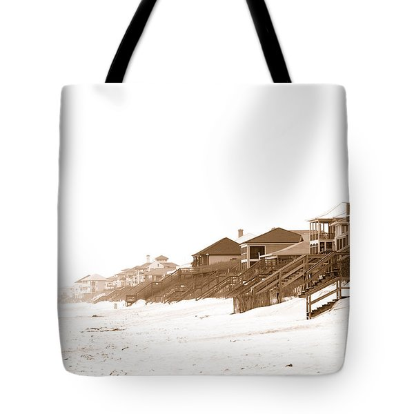 Florida Beach Sepia Print Tote Bag