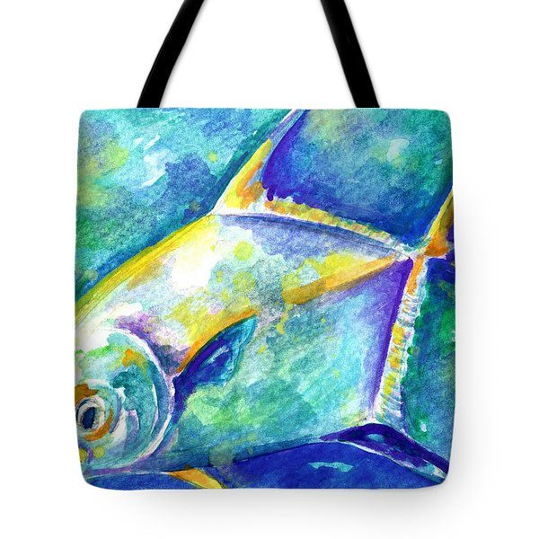 Tote Bag featuring the painting Florida Keys Permit by Ashley Kujan