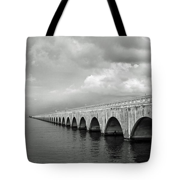 Florida Keys Seven Mile Bridge Black And White Tote Bag by Photographic Arts And Design Studio