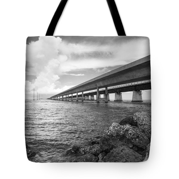 Florida Keys Seven Mile Bridge South Bw Vertical Tote Bag by Photographic Arts And Design Studio