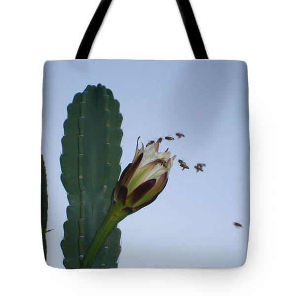 Flower And Bees Tote Bag
