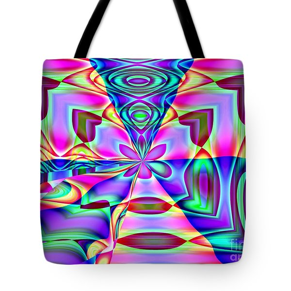 Flower And Hearts Modern Abstract Art Design Tote Bag by Annie Zeno