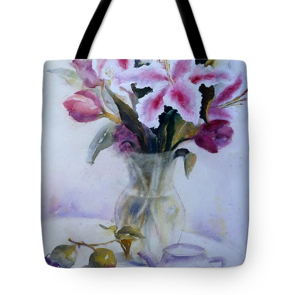 Flower Bouquet With Teapot And Fruit Tote Bag
