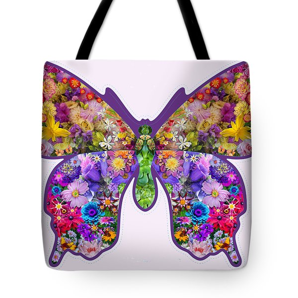 Flower Butterfly Tote Bag by Alixandra Mullins