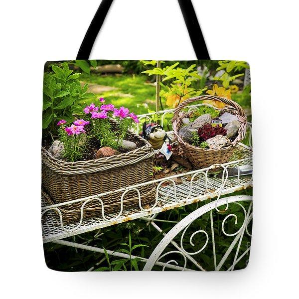 Flower Cart In Garden Tote Bag