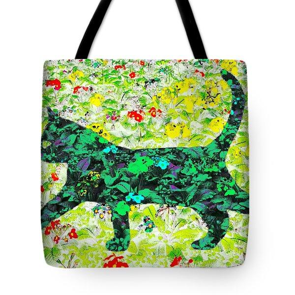 Flower Cat Tote Bag by Barbara Moignard